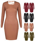 WOMENS LADIES LONG SLEEVE RIBBED BODY CON DRESS JUMPER FINE KNITTED PULLOVER A3