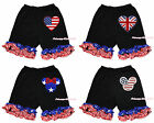 4th July Patriotic Star Minnie USA UK Flag Heart Black Ruffle Cotton Pants 1-8Y