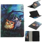 Oil painting Cute Love Owls Wallet card holder Leather Case Cover For Tablet