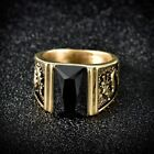 Promise Men's Baguette Black Onyx Stainless Steel Gold Dragon Biker Ring Jewelry
