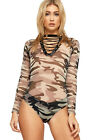 Womens Mesh Camouflage Bodysuit Ladies Eyelet Tie Up V Neck Long Sleeve Leotard