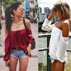 New Fashion Women Casual Slash Neck Off the Shoulder Lantern Sleeve EN24H