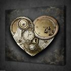 VINTAGE HEART OF STEAMPUNK RETRO BOX CANVAS PRINT WALL ART PICTURE