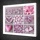 PINK HEARTS COLLAGE SHABBY CHIC VINTAGE DESIGN BOX CANVAS PRINT WALL ART PICTURE