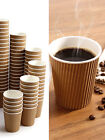 Disposable Coffee Cups 3ply Tea Hot Drinks Ripple Cardboard No Lids - 10oz Brown