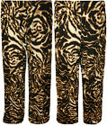 New Womens Plus Size Print Wide Leg Long Ladies Palazzo Pants Trousers 12 - 26