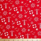 Lighthouse Anchors Helms Nautical Secrets 100% Cotton Fabric 150cm Wide