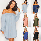 Womens Sexy Off Shoulder Button Shirt Mini Short Dress Loose Blouse Casual Tops