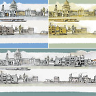Town Riverbank Boats Buildings 100% Cotton Patchwork Fabric (Inprint)
