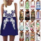 Women Sleeveless Ethnic Vintage Floral Print Party Evening Mini Short Dress New