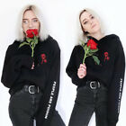 Women's People Are Poison Sleeve Embroidery Rose Hoodie Sweatshirt Blouse Tops