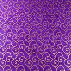 Montego Bay Batik, Metallic Gold Scrolls on Bright Purple, Cotton Fabric
