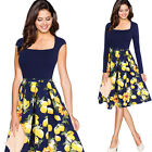 Womens Elegant Contrast Floral Print Casual Work Party Swing Skater A-line Dress