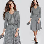 Womens Vintage 3/4 Sleeve Button Bow Check Casual Work Party Skater A-line Dress