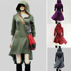Women Hooded High Low Asymmetric Hem Long Sleeve Sweatshirt Lace Up Dress Tunic