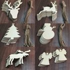 20 Pcs Christmas Wood Chip Tree Ornaments Xmas Hanging Pendant Home Decor Gifts