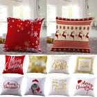 Merry Christmas Xmas Cotton Pillow Cover Sofa Throw Cushion Cover Home Decor NEW