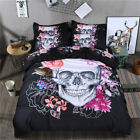 Skull Floral Duvet/Quilt Cover Set Pillowcases Twin/Full/Queen/King Size Bed New