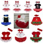 My 1st Christmas Baby Girl Romper Headband Santa Xmas Outfit Costume Fancy Dress