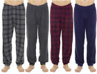 Mens Fleece Check Lounge Pants Pyjamas Bottoms Trousers NightWear M-XXL