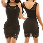 Women Sleeveless Black Hollow Out Lace Insert Wrap Cocktail Club Mini Tank Dress