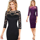 Womens Sexy Embroidered Floral See Through Mesh Lace Party Mother of Bride Dress