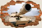 3D Hole in Wall Army Fighter Tanks View Wall Stickers Decal Wallpaper Mural 923