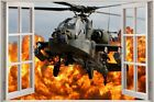 Huge 3D Window view Army Helicopter Wall Sticker Mural Film Decal Wallpaper S60