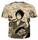 Men Women 3D T-Shirt Anime One Piece Luffy Print Casual Short Sleeve S-5XL S-5XL