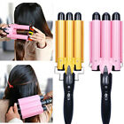 22~32mm Digital Ceramic Triple Barrel 3 Rods Hair Waver Curling Iron Styling