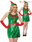 Ladies Sequin Christmas Fancy Dress Adults Elf Santa Costume Sexy Outfit Xmas
