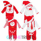 Baby Boys Girls 3 Piece Xmas Outfit Babies Santa My First Christmas Bib Hat Set