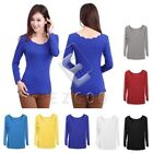Lady Sexy Cotton Thread Petal Wave Collar Long Sleeves T-Shirt Tops Casual