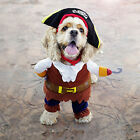 Pet Dog Cat Pirate Costume Outfit Jumpsuit Cloth for Halloween Christmas Pop UK
