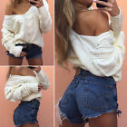 UK Women Long Sleeve V-Neck Twisted Sweater Jumper Knit Tops Blouse Pullover