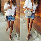 Women Button Down Shirts Lapel Long Sleeve Casual Loose Tee T-Shirt Tops Blouse