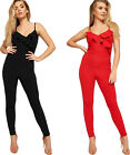 Womens Layered Ruffle Frill Full Length Crepe Pants Ladies Strappy Jumpsuit 6-14