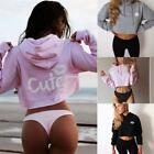 Women Drawstring Hooded Long Sleeve Print Pullover Crop Hoodie EN24H 01