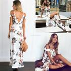 Women Spaghetti Strap Cold Shoulder Ruffles Floral Summer Beach Maxi EN24H 01