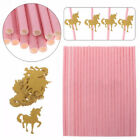 25Pcs Pink Paper Straws Glitter Unicorn Flamingo For Kid Birthday Party Decor