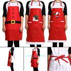 Christmas Kitchen Bar Creative Red Xmas Applique Apron Unisex Cooking Chef Decor