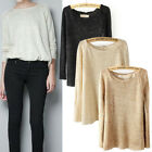 Lady Round Neck Sequins Loose Long Sleeve Chiffon Lining Sweaters Pullover