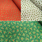 Lifestyle Christmas Mini Holly Leaf Bunches 100% Cotton Fabric 140cm Wide
