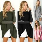 Women Boat Neck Long Rib Patchwork Sleeve Solid Fleece Pullover Loose S0BZ