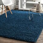 nuLOOM Contemporary Modern Simple Solid Shaggy Area Rug in Navy Blue