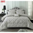 6 Piece 300TC Isabella Grey Jacquard Comforter Set by Accessorize - QUEEN KING