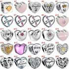 European Silver Beads Hearts Charms CZ Lover Pendant Fit 925 sterling Bracelets