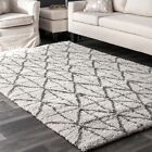 nuLOOM NEW Contemporary Geometric Tiles Plush Shag Area Rug in Ivory and Grey