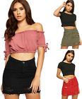 Womens Ripped Distressed Frayed Short Button Pocket Ladies Denim Mini Skirt 6-16