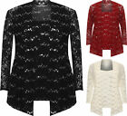 Plus Womens Floral Lace Sequin Long Sleeve Vest Top Cardigan Ladies Party Set